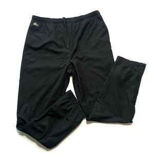 Lacoste Sport Track Pants Black Lined Zip Ankle XL